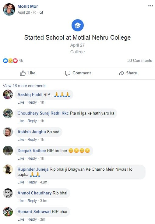 Mohit Mor Facebook Wall - Mohit's facebook timeline is overflowed with condolence messages.