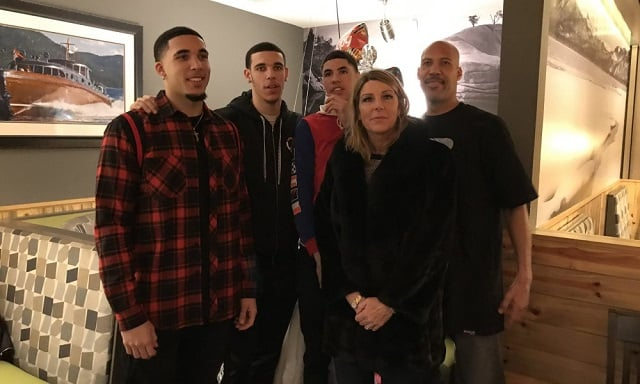 Tina Ball with her husband, LaVar Ball and sons