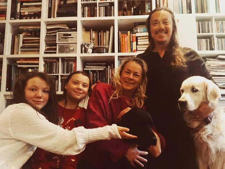 Greta Thunberg with her Family members