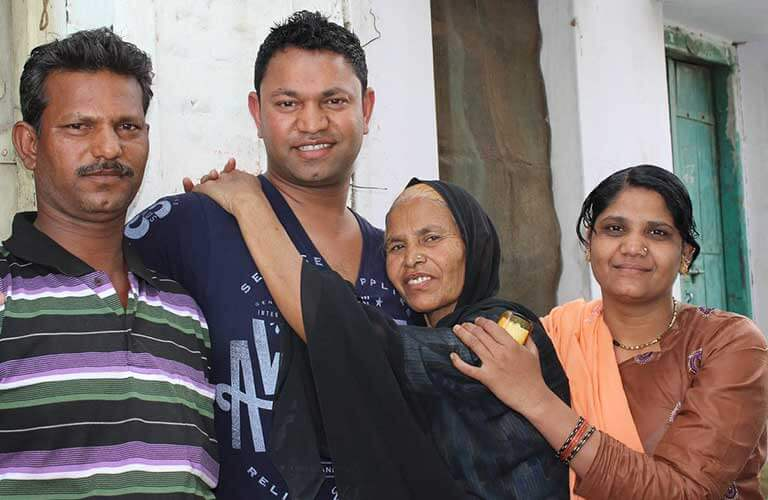 Saroo Brierley with his family in India